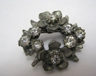 Flower Pewter Rhinestone Brooch Clear Vintage Pin