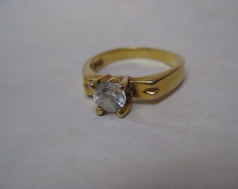 Gold Crystal Solitaire Ring Vintage Clear Size 6