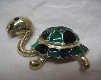 Turtle Green Gold Brooch Black Rhinestone Vintage Pin