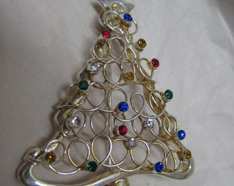 Christmas Tree Brooch Rhinestone Green Gold Red Blue Clear Aurora Vintage Pin