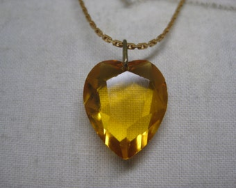 Heart Gold Faceted Necklace Glass Vintage Pendant