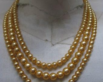 Orange Pearl Three Strand Necklace Vintage