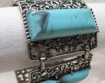 Chunky Turquoise Filigree Bracelet Silver Blue Vintage