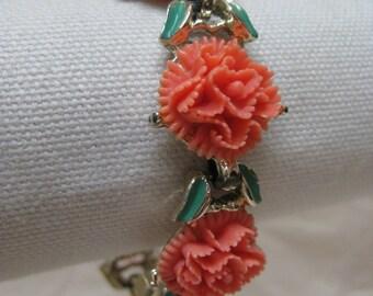 Flower Orange Coral Carnation Bracelet Gold Green Vintage Link Plastic