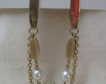 Gold Pearl Sweater Guard Clip Vintage