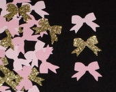 100 Glitter Gold and Pink Mini Bow Die Cut Confetti, Scrapbooking Embellishments, and Party Decorations