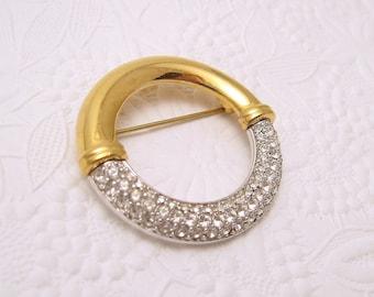 Vintage Swarovski Crystal Circle Brooch P5565