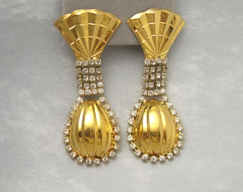 Long Rhinestone Earrings Kim Vintage Costume Jewelry E3972