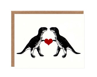 T-Rex in Love -- Funny Screenprinted Card