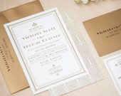 Art Deco Wedding Invitation, Gold Invitation, Roaring 20's, Great Gatsby Invitation SAMPLE