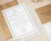 Art Deco Wedding Invitation, Gold Invitation, 1920's wedding, Great Gatsby Invitation DEPOSIT