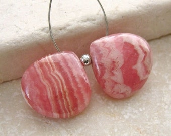 Strawberry Pink Rhodocrosite Gemstone Polished Heart Beads 14x14mm - Matched Bead Pair