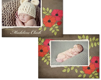 Baby Girl Birth Announcement - Photoshop Template for Photographers - PSD Files - Red Poppy - CS0001d