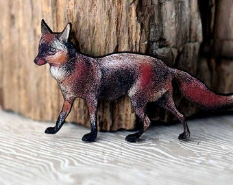 Red Fox Brooch  Woodland Animal Brooch  North American Wildlife Series  What does the fox say?