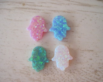 4 pcs Mixed Opal Hamsa Hand Pendants Blue, White, Pink, Green Fatima Charms Mix Colors