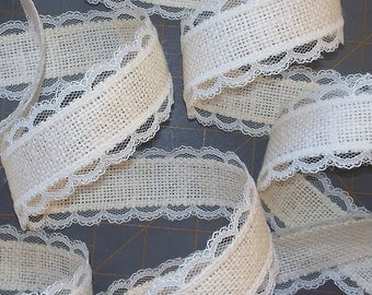 Ivory Burlap and Lace Ribbon - 1.5 inch x 3 yards