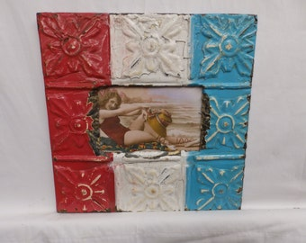 AUTHENTIC Tin Ceiling 4 X 6 Shabby Chic Picture Frame Reclaimed Photo S2127-14
