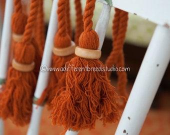 Big Mod Colorful Vintage Tassels Fringe  - Wood Beads 70s New Old Stock Rust