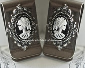 Miss Skeleton Money Clip - Zombie Girl Gothic Victorian Cameo - Made in USA Findings - 6 Cameo Colors - 2 Directions