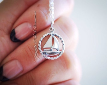 Sailboat Necklace - Solid 925 Sterling Silver Nautical Charm - Insurance Included