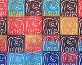 Zimbabwean hand printed and hand dyed batik - fat quarter of bright Elephants