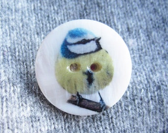 SUPER CUTE PROMO : Blue Tit Button Brooch