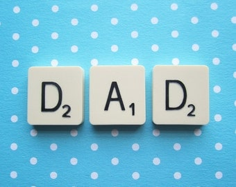 Upcycled Vintage Scrabble Tile Magnets - DAD