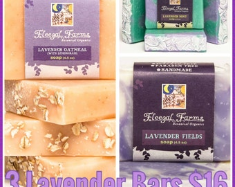 For the love of Lavender. Three bars of natural, cold process artisan soap.