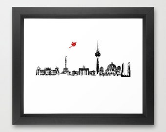 Berlin City Skyline , Germany , Bahn Tower, Brandenburg Gate, Berlin Cathedral, Reichstag Building