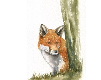 Original Watercolour sketch - Red Fox - reduced to clear