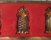 Vintage Lenox Silver Plated Ornaments Williamsburg Set 3 Pineapples Never Used