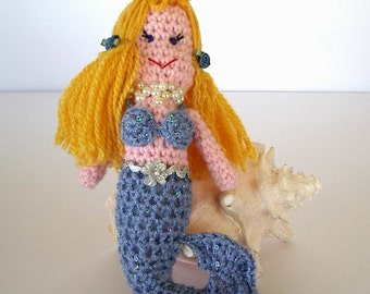 Blue Sparkle Mermaid Toy Crochet Doll Pink Skin Yellow Gold Hair