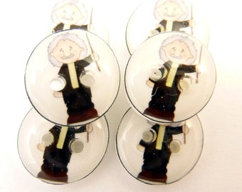 """6 SMALL Albert Einstein Buttons. Scientist or Geekery Themed Handmade Buttons. Sew on.  1/2"""" or 13 mm."""