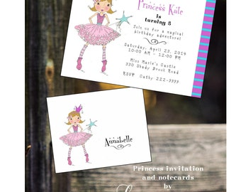 Custom personalized note cards princess thank you notes hand drawn hand designed stationery princess party birthday notes