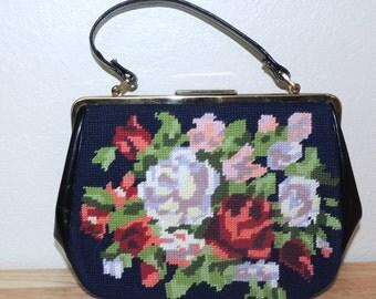 Navy Needlepoint Floral Handbag