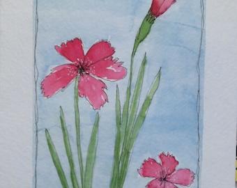 Original Watercolor Pink Carnations Card