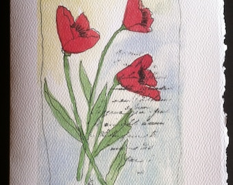 Poppy Watercolor Card