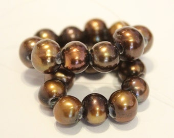 Large Hole Pearl Round Pearl Freshwater Pearl dark brown AA 7-8mm with 2.5mm hole beads--10 pc high quality  #LH80075