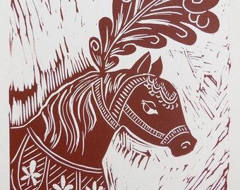 Whimsical wall art Circus Pony hand pulled linocut print