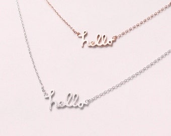 HELLO lo simple and delicate necklace -rose gold or silver