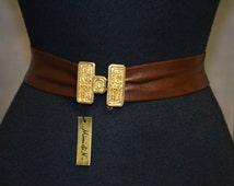 Vintage Mimi Di N Buckle Set NOS.  Tribal Safari Tiki Design.  Garay Chocolate Brown Leather CInch Belt.  Adjustable.  34 or less