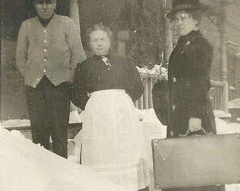 Antique RPPC Real Photo Postcard Grams In Apron And Gramps Greet Travelling Saleslady In Snow Vintage Photograph Post Card