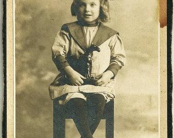 Vintage Cabinet Card Photograph Mabel Little Girl In Sailor Suit Vintage Photo