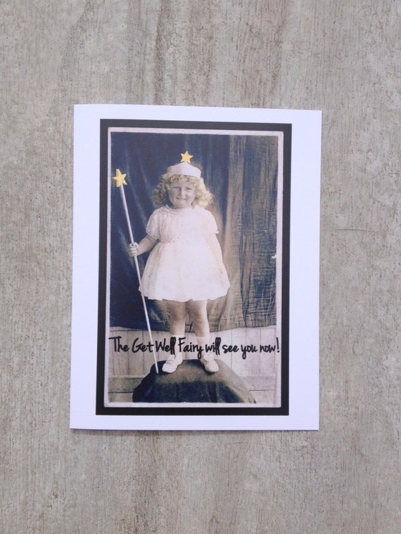 Greeting card #35, Get Well Fairy Greeting Card Vintage Photo