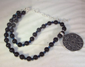 Gemstone and Swarovski Crystal Jewelry - Large Brushed Zodiac Pendant - Rainbow Sheen Obsidian