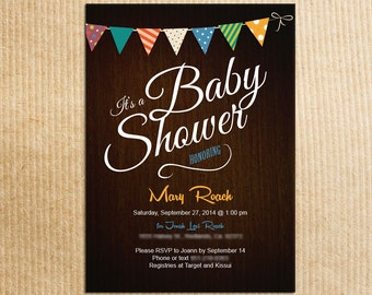 Bunting Flag Rustic Baby Shower Invitations