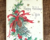 Happy Holidays Pine Holly Christmas Tags #163