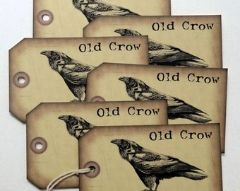 Grungy Primitive Old Crow Gift or Scrapbook Tags #T 68