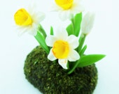 Miniature Plants Polymer Clay Flowers Supplies for Dollhouse, Daffodil, 1 pcs