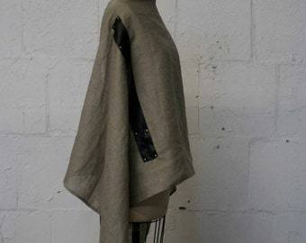 linen & leather scarf
